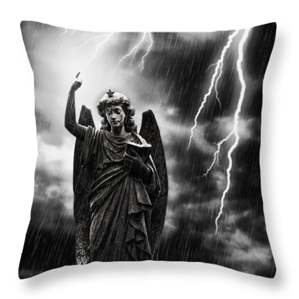Lightning Strikes the Angel Gabriel Throw Pillow by Amanda And Christopher Elwell