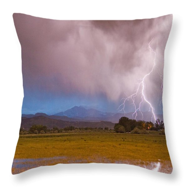 Lightning Striking Longs Peak Foothills 7C Throw Pillow by James BO  Insogna
