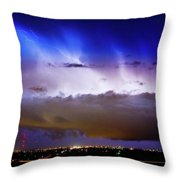Lightning Thunder Head Cloud Burst Boulder County Colorado IM39 Throw Pillow by James BO  Insogna