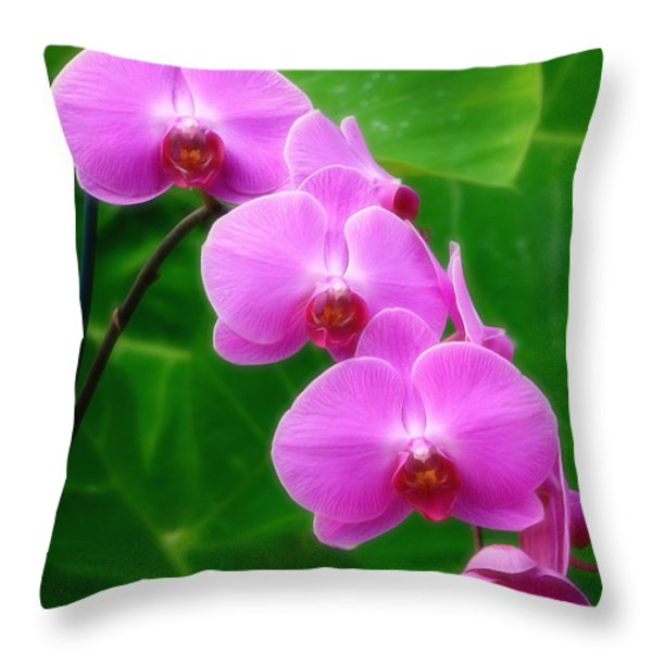 Lilac Orchid Beauties Throw Pillow by Sue Melvin