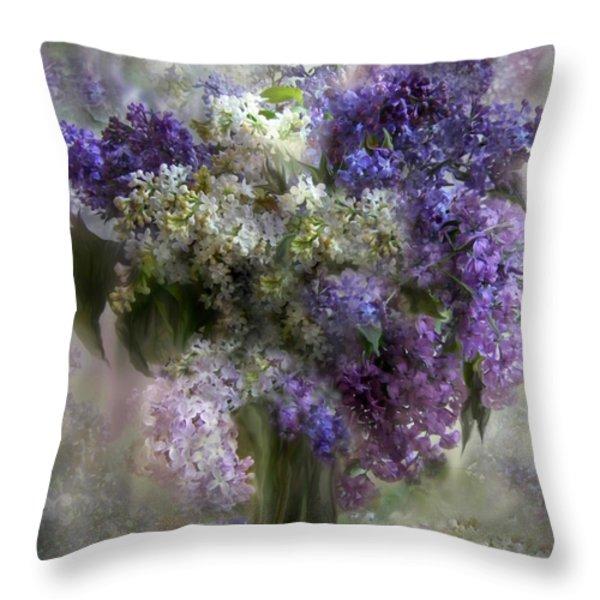 Lilacs Of Love Throw Pillow by Carol Cavalaris