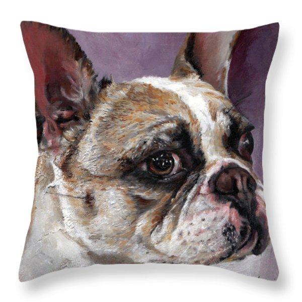 Lilly The French Bulldog Throw Pillow by Enzie Shahmiri