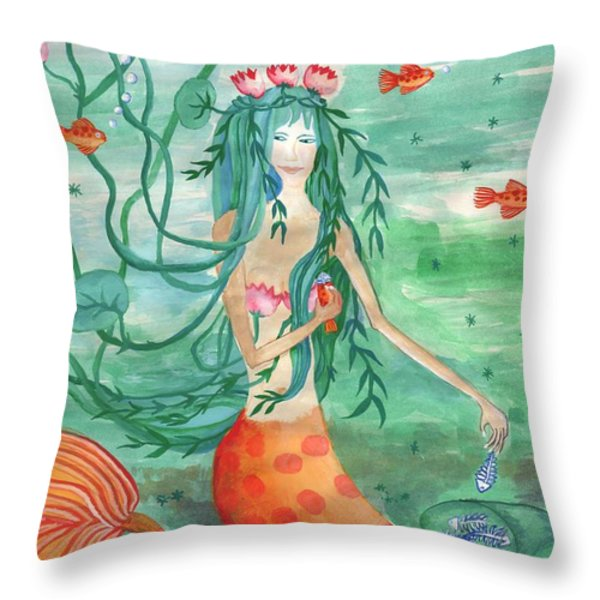Lily Pond Mermaid With Goldfish Snack Throw Pillow by Sushila Burgess
