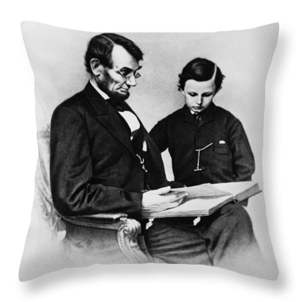Lincoln Reading To His Son Throw Pillow by Photo Researchers