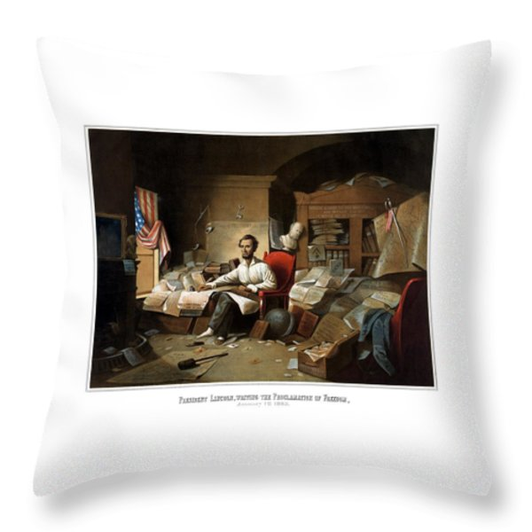 Lincoln Writing The Emancipation Proclamation Throw Pillow by War Is Hell Store
