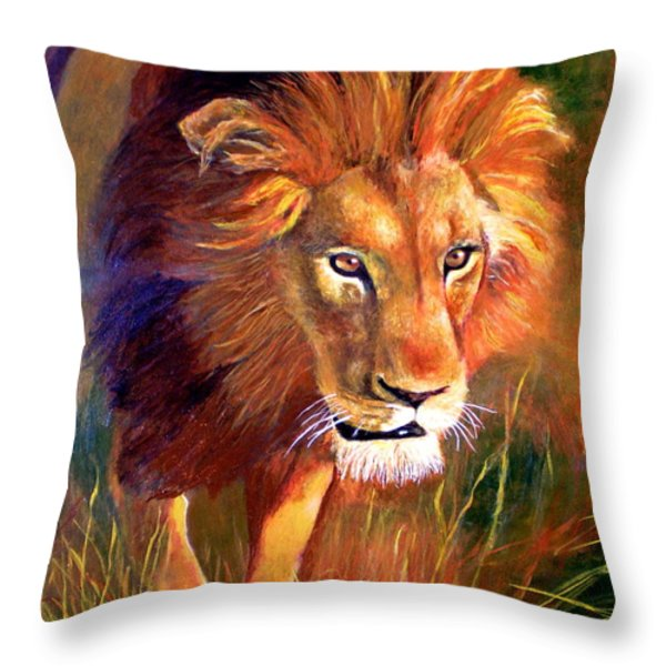 Lion At Sunset Throw Pillow by Michael Durst