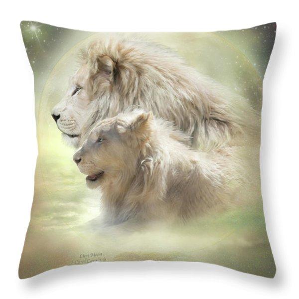 Lion Moon Throw Pillow by Carol Cavalaris