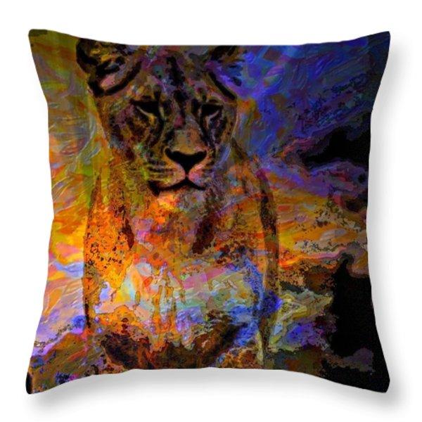 Lion On The Mesa Throw Pillow by WBK
