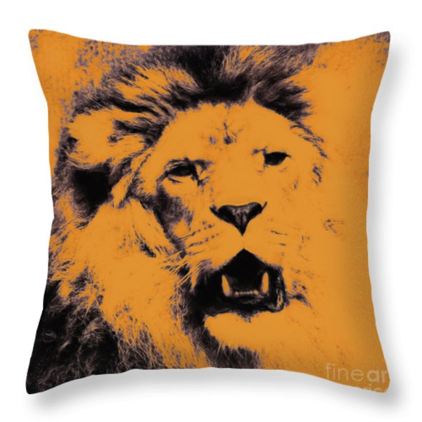 Lion Pop Art Throw Pillow by Angela Doelling AD DESIGN Photo and PhotoArt