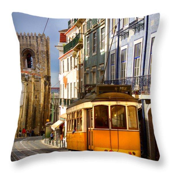 Lisbon Tram Throw Pillow by Carlos Caetano