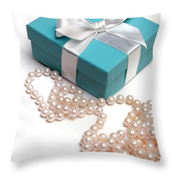 Little Blue Gift Box and Pearls Throw Pillow by Amy Cicconi