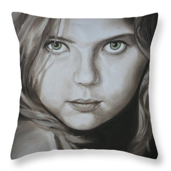 Little Girl With Green Eyes Throw Pillow by Jindra Noewi