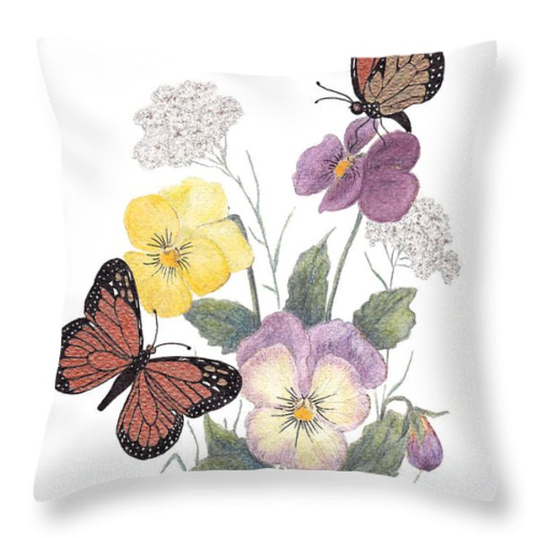 Little Heartsease Throw Pillow by Stanza Widen