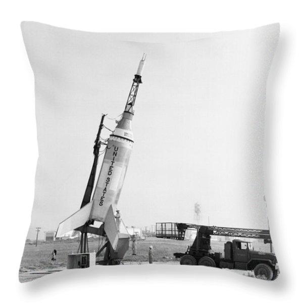 Little Joe On Launcher At Wallops Throw Pillow by Stocktrek Images