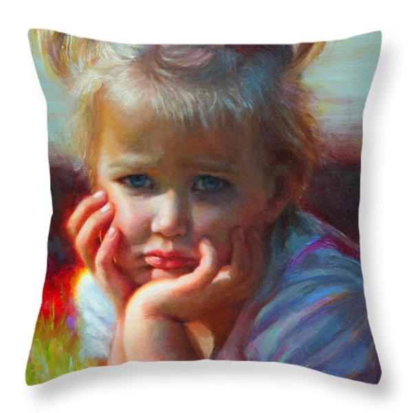 Little Miss Sunshine Throw Pillow by Talya Johnson
