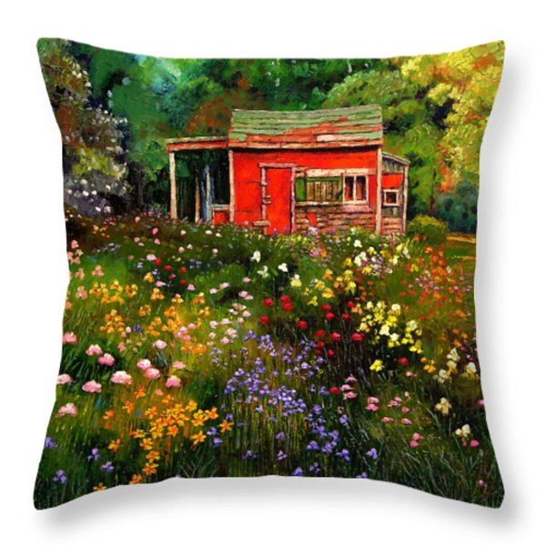 Little Red Flower Shed Throw Pillow by John Lautermilch