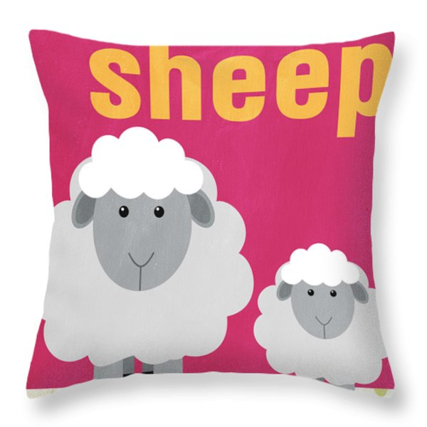 Little Sheep Throw Pillow by Linda Woods