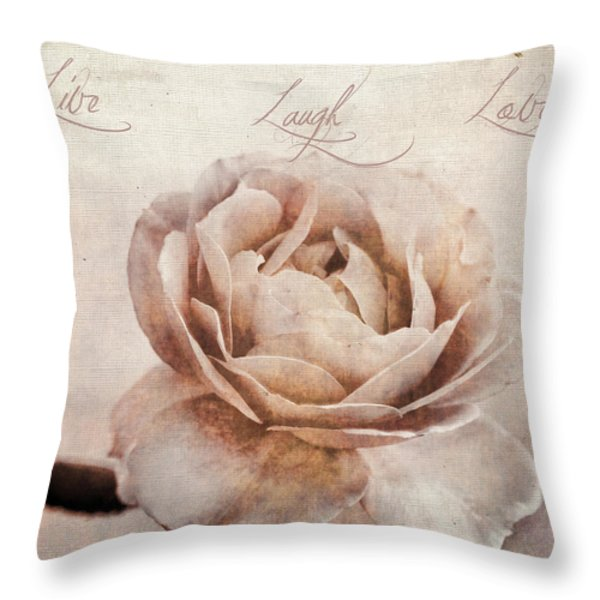 Live Laugh Love Throw Pillow by Darren Fisher