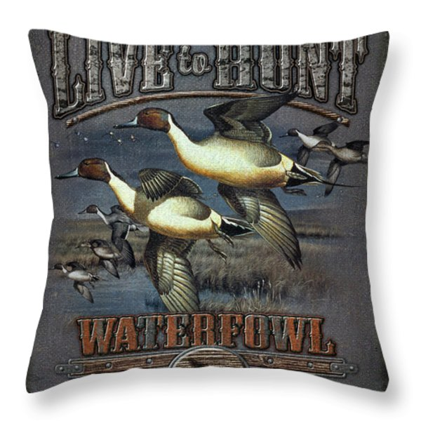 Live to Hunt Pintails Throw Pillow by JQ Licensing