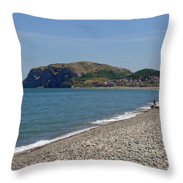Llandudno Beach Throw Pillow by Rod Johnson