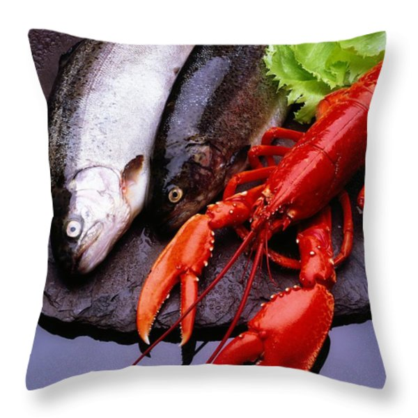 Lobster And Trout Throw Pillow by The Irish Image Collection