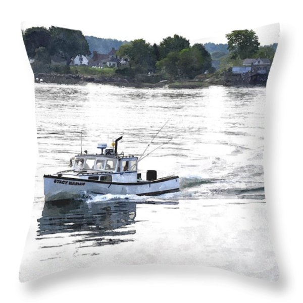 Lobster Boat Lbwc Throw Pillow by Jim Brage