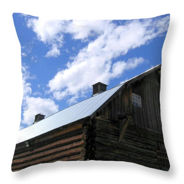 Log Clydesdale Barn Throw Pillow by Will Borden