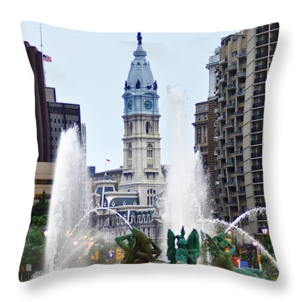 Logan Circle Fountain with City Hall in Backround Throw Pillow by Bill Cannon