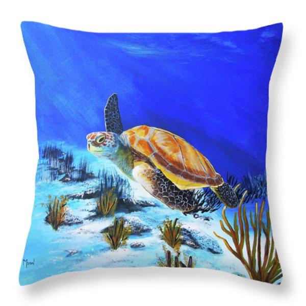 Loggerhead Sea Turtle Throw Pillow by John Moon