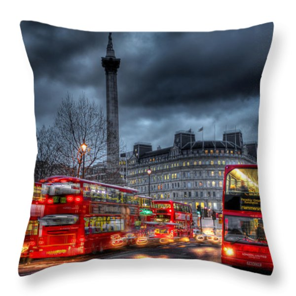 London red buses Throw Pillow by Jasna Buncic