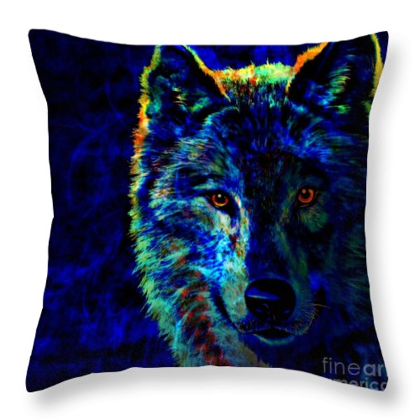 Lone Wolf Throw Pillow by WBK