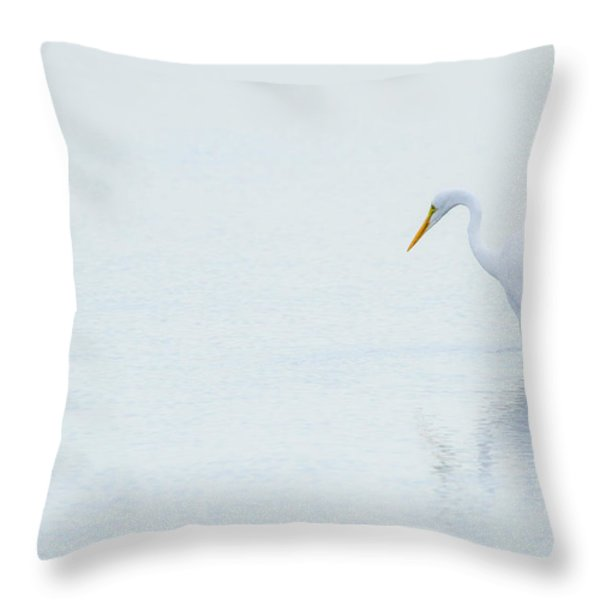 Lonely Egret Throw Pillow by Karol Livote