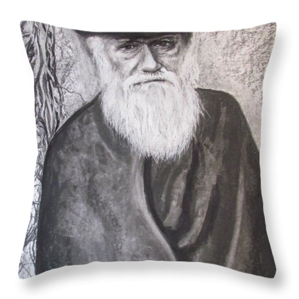 Lonely Occupation - C. Darwin Throw Pillow by Eric Dee