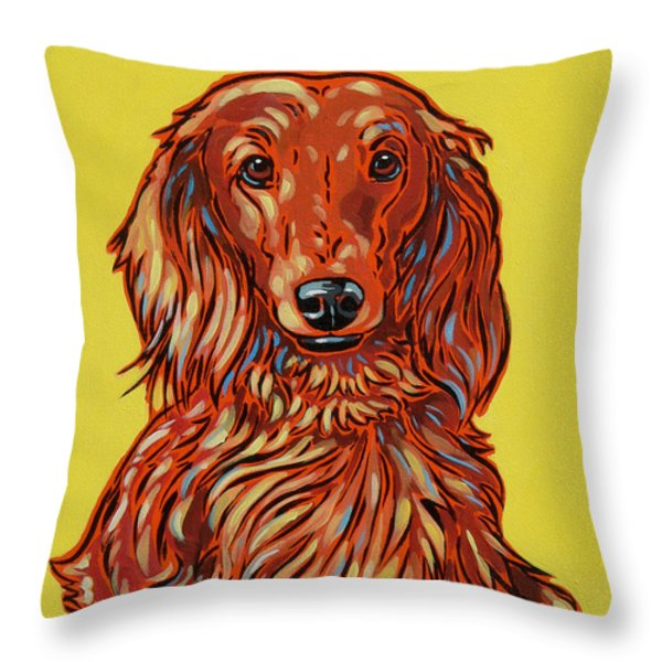 Long Haired Dachshund Throw Pillow by Nadi Spencer