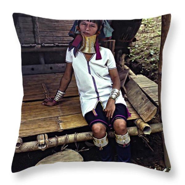 Longneck Beauty Throw Pillow by Steve Harrington