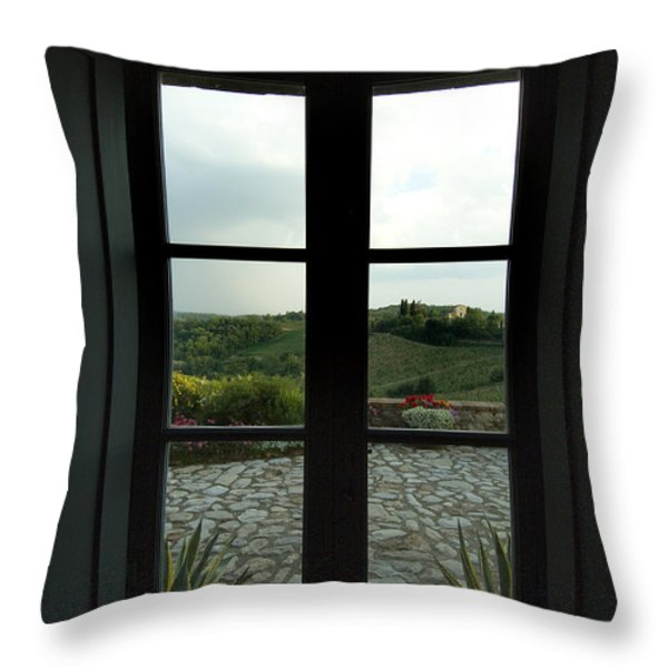 Looking Through The Window Of A Tuscan Throw Pillow by Todd Gipstein