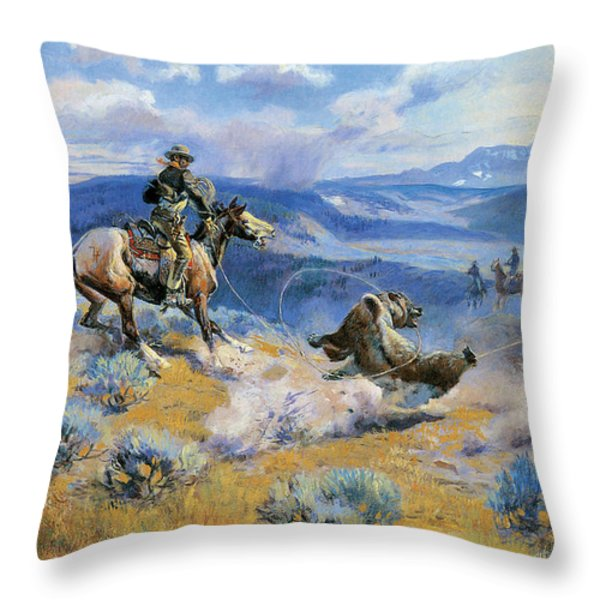 Loops And Swift Horses Are Surer Than Lead Throw Pillow by Charles Russell