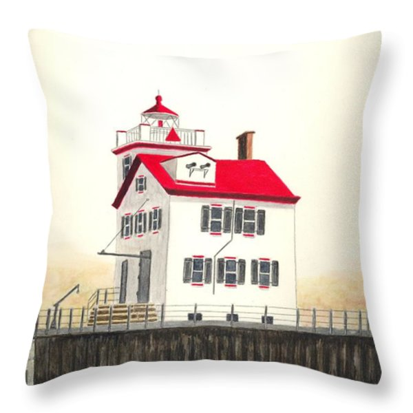 Lorain Lighthouse Throw Pillow by Michael Vigliotti