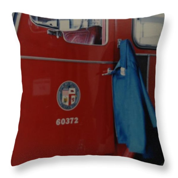 Los Angeles Fire Department Throw Pillow by Rob Hans
