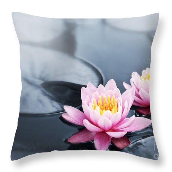 Lotus blossoms Throw Pillow by Elena Elisseeva