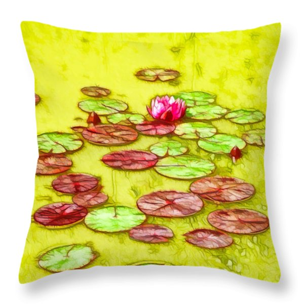 Lotus Flower On The Water 2 Throw Pillow by Lanjee Chee