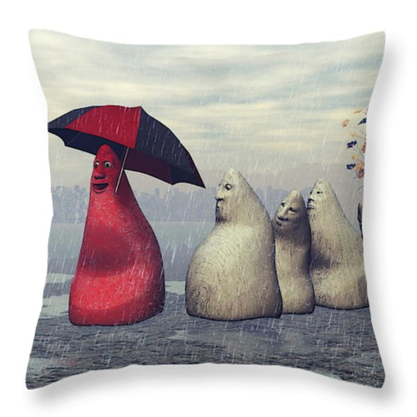 Lousy Weather Throw Pillow by Jutta Maria Pusl