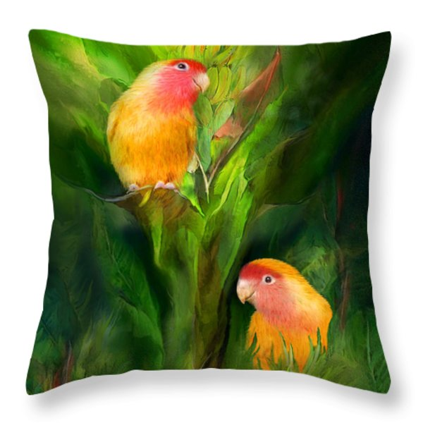 Love Among The Bananas Throw Pillow by Carol Cavalaris