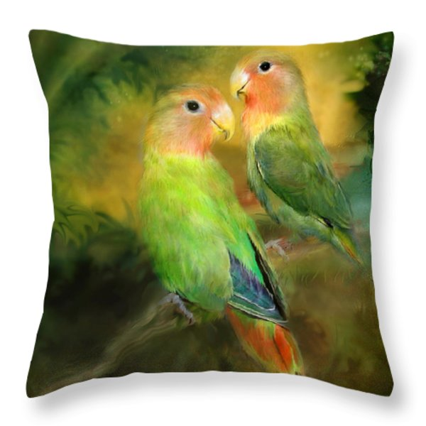 Love In The Golden Mist Throw Pillow by Carol Cavalaris