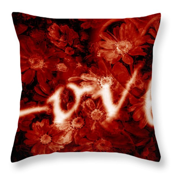Love With Flowers Throw Pillow by Phill Petrovic