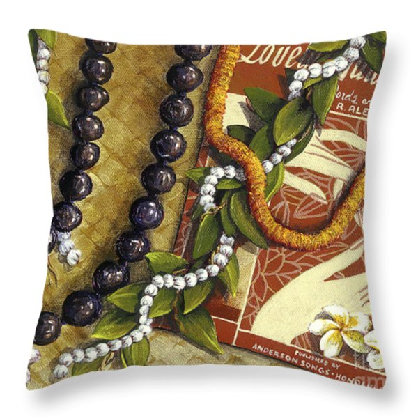 Lovely Hula Hands Throw Pillow by Sandra Blazel - Printscapes