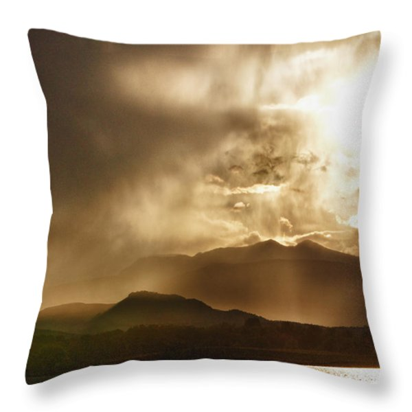 Low Clouds On The Colorado Rocky Mountain Foothills Throw Pillow by James BO  Insogna