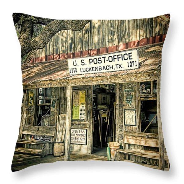 Luckenbach Tx Throw Pillow by Scott Norris