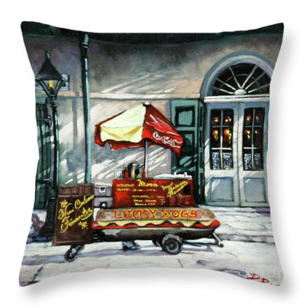 Lucky Dogs Throw Pillow by Dianne Parks
