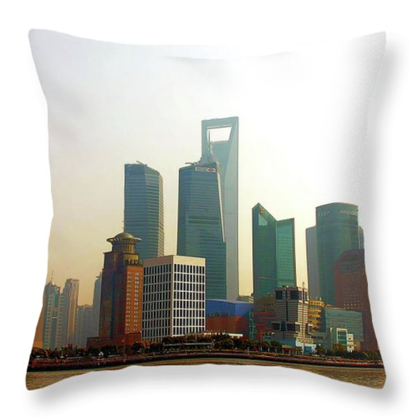 Lujiazui - Pudong Shanghai Throw Pillow by Christine Till